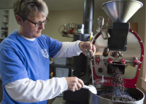 Cheryl Greene roasts each batch at a specific temperature that caters to light, medium and dark roast coffees.