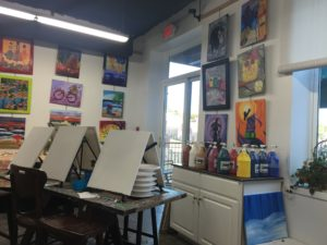 Two Broke Artists Art Studio in downtown Lancaster features artwork from past painting sessions.